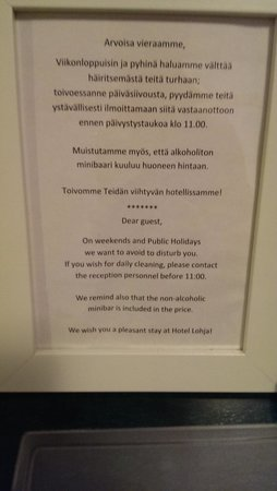 Hotel Lohja: free minibar