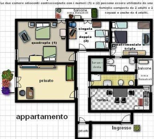 Planimetria appartamento foto di b b vanvitelli caserta for Planimetria appartamento