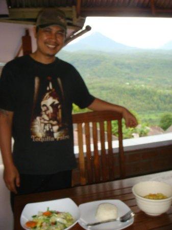 One Homestay: Chef & Proprietor Kadek from top floor balcony