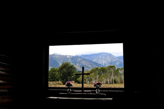 Chapel of the Transfiguration: View across the altar - Tetons in the background