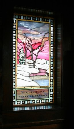 Chapel of the Transfiguration: Stained Glass in entrance - left