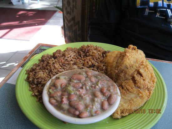 Aunny's: Whiting with butter beans and brown rice. Large portions of love served here.