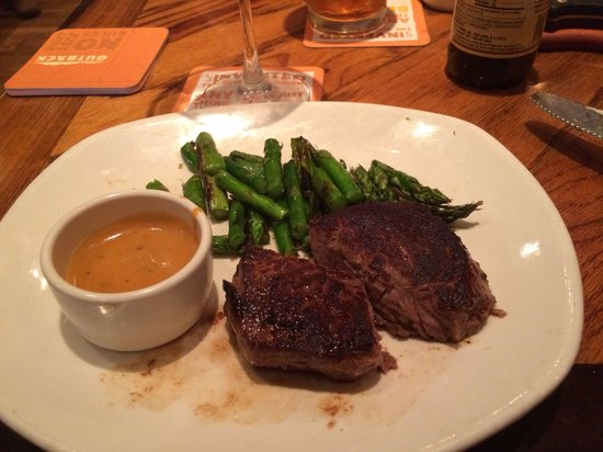 Outback Steakhouse: $9.99 lunch steak special with grilled asparagus.  Delicious!