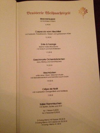 Brasserie zu Gutenberg: Specials Menu