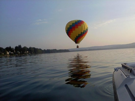Hot Air Ballons often come down and dock at the Lake House