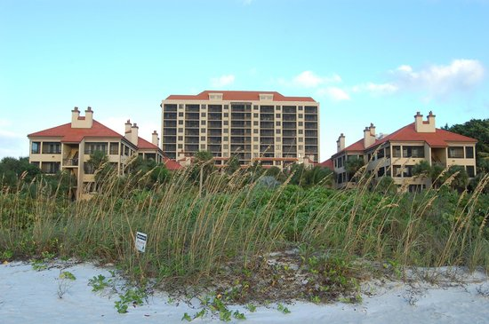 Eagle's Nest on Marco Beach: view of hotel from beach