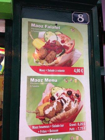 Maoz Vegetarian: menu