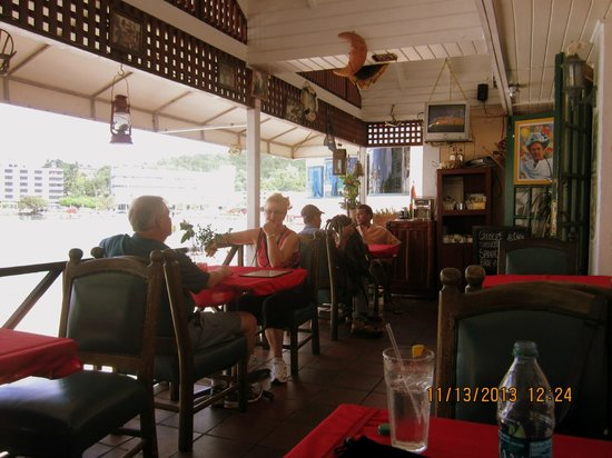 Caribbean Pirates Limited Restaurant and Bar : The view overlooks the harbor and town