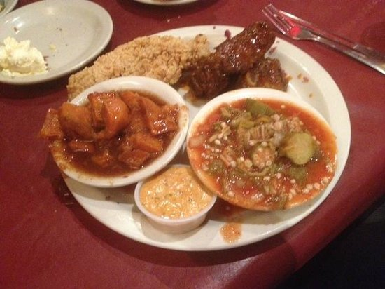 Mert's Heart & Soul : yams, okra and BBQ beef