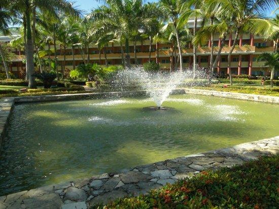 Iberostar Dominicana Hotel: Fuente de agua en medio del gran jardin camino a la playa