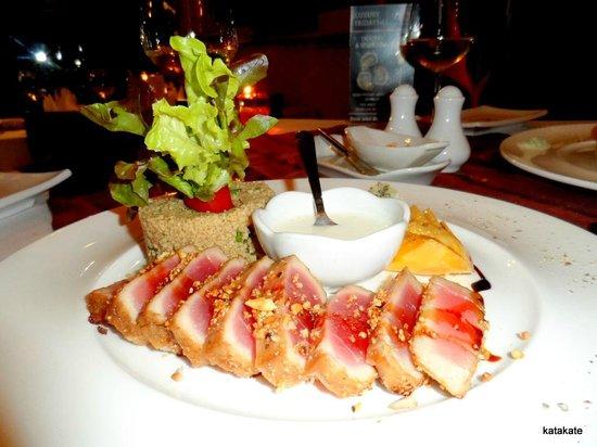 DeDos Tuna - pan seared yellowfin tuna, cashewnut, tabbouleh & wasabi creme fraiche