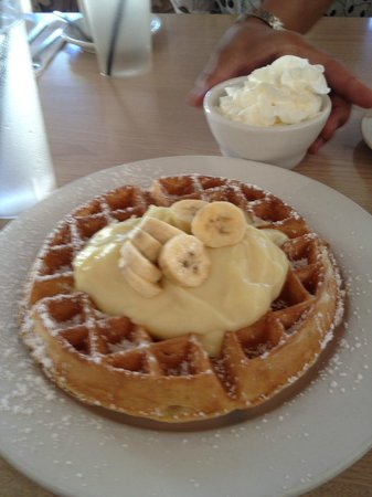 Hapa Grill: Waffle with banana cream and whipped cream on the side
