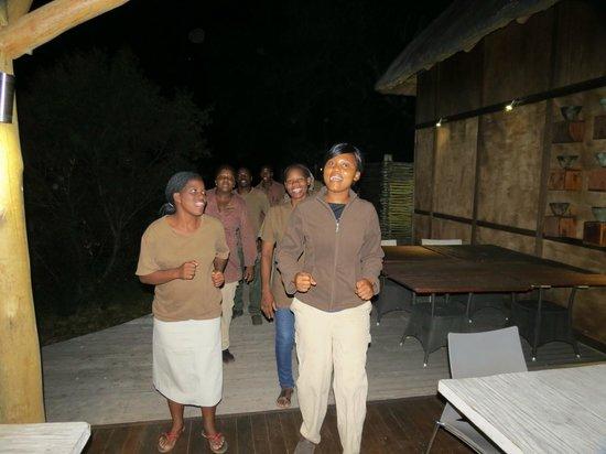 andBeyond Xudum Okavango Delta Lodge: Post prandial entertainment from staff