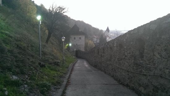 "Burg Trenčín (Trenčiansky hrad): castle entrance road with ""surprised"" watch tower :)"