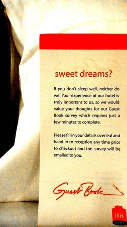 ibis Singapore Novena : a greetings on the pillow