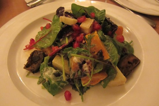 The Cambridge Chop House: Butternut squash salad (small) with pomegranate, apple, pickled walnuts, and garlic dressing