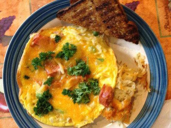 Morning at Maggie's Omelette Shoppe: Andouille Green Pepper Cheddar Frittata