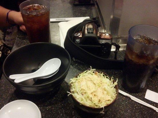 Daikokuya: Free salad (amazing BTW...) with the combination meals
