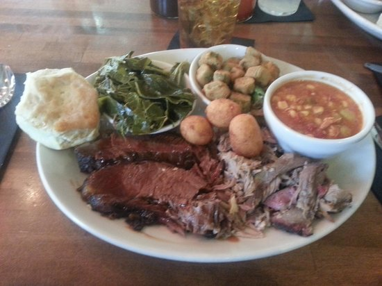 The Pit Authentic Barbecue: U can cut the Brisket with your fork. Also got a extra side of brunswich stew. Excellent,
