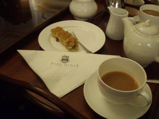 Plas Dinas Country House: Homemade cake and tea in the drawing room on arrival