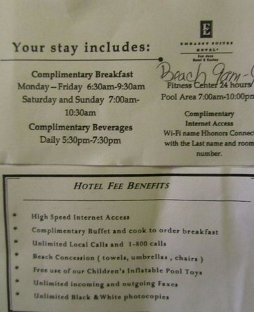 """Embassy Suites by Hilton San Juan Hotel & Casino : Fees for """"free"""" breakfast"""