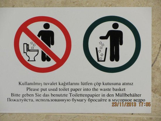 IC Hotels Green Palace: You are asked to throw used toilet paper into waste basket