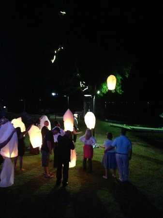 Releasing the Chinese lanterns on  the Lake House Shoreline.