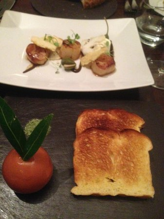 Tailors Restaurant: Scallops at the back and duck parfait at the front - wrapped in orange jelly. Delicious.