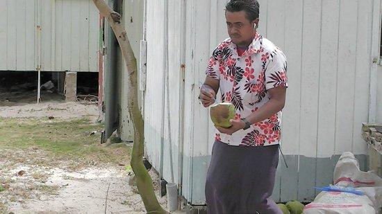 Dravuni Island : Fresh coconut milk - yum!