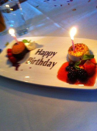 Capital Grille: Our birthday desserts.
