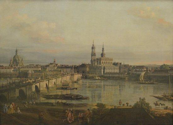 Staatliche Kunsthalle Karlsruhe: Bernardo Bellotto - Blick auf Dresden vom Neustädter Brückenkopf, 1765 at Staatliche Kunsthalle