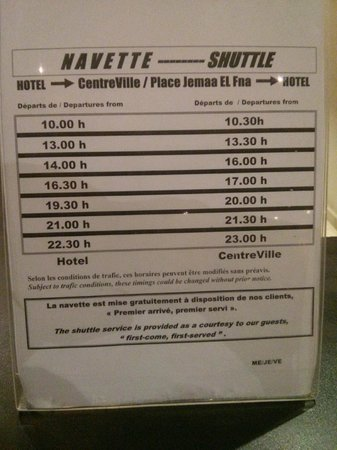 Zalagh Kasbah Hotel and Spa: horarios autobus