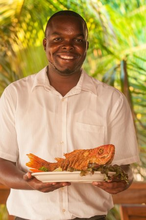 Blue Bahia Beach Grill: Randy is one of our waiters here to serve you.