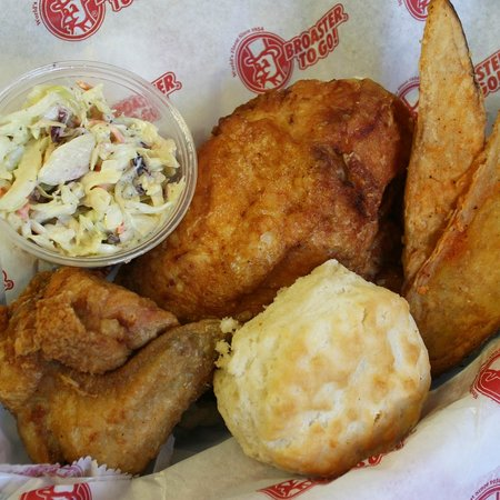Chilly Jilly'z Bakery & Cafe: Broaster Chicken, potato wedges, biscuit and cole slaw