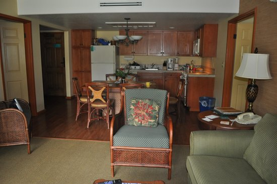 Kauai Coast Resort at the Beachboy: View of inside condo, doors on either side lead to bedrooms