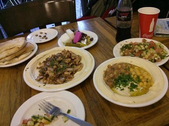 """Humus Abu Marwan : One plate of Humus """"triple"""" (with Beans and Ful) and one plate of Humus with chicken and onions"""