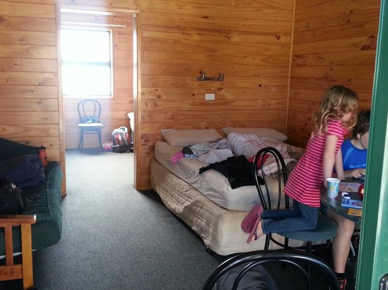 Motueka TOP 10 Holiday Park : Family cabin with two bunks sleeping 5 in back room and queen in front with fridge and tv
