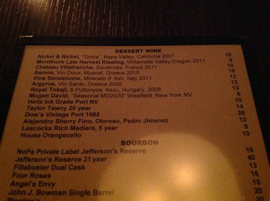 NOPA Kitchen & Bar: The first time we've seen Mogen David on a list of dessert wines at an upscale restaurant