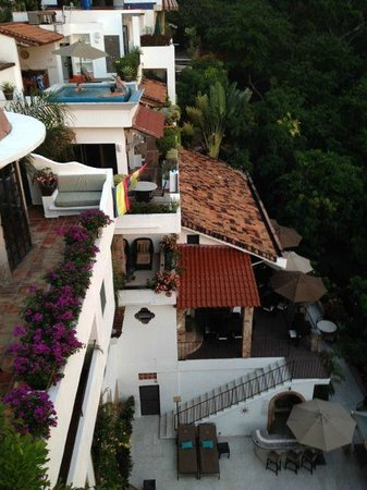Casa Cupula: a view of the many areas and the upper pool