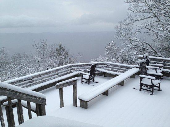 The Mountain Retreat and Learning Center: the lodge deck in February