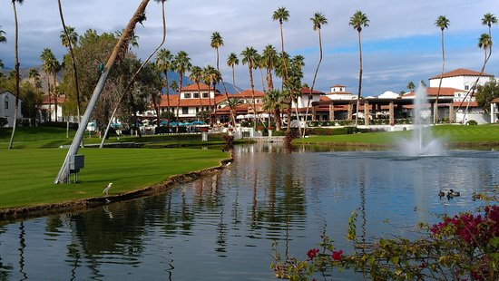 Omni Rancho Las Palmas Resort & Spa : Looking across grounds towards main building.