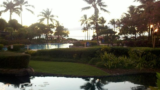 The Westin Kaanapali Ocean Resort Villas: overview of pool and gardens with ocean in background