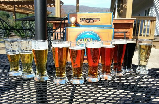 Beer flight at Blue Mountain Brewery