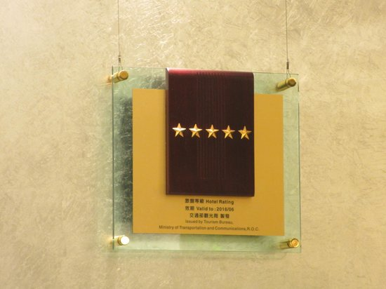 Howard Prince Hotel Taichung: Five Star Certificate