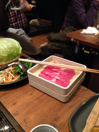 Shabu Shabu Onyasai, Shinjuku: Raw food prepared for personal cooking