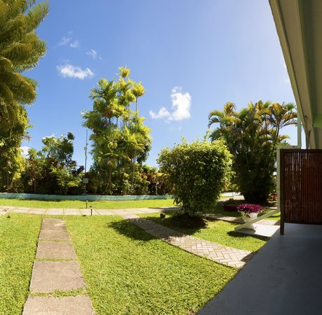 The Palm Garden Hotel: View from a studio patio on the ground floor
