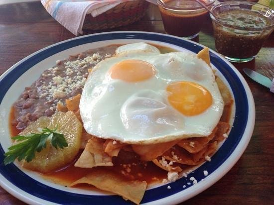 Maria's: verde and rojo chile sauce with huevos and frijoles - muy bueno.
