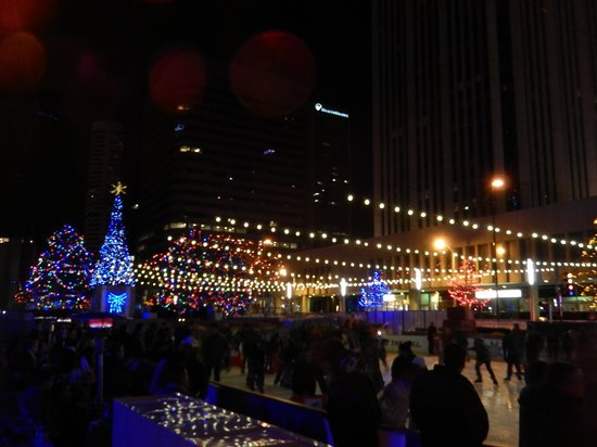 16th Street Mall: Lights over the Skating Rink on Arapahoe Street