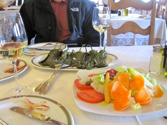Delicious pimientos fritos and salad at Jerez Restaurant