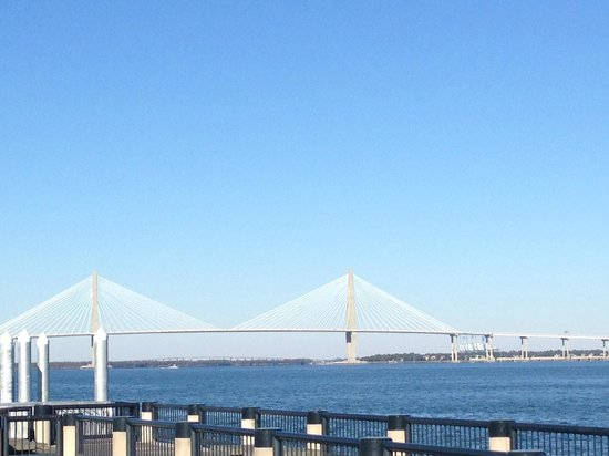 Riley Waterfront Park: A view of the bridge from the park!